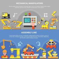 Two Robotic Arm Composition Set Vector Illustration