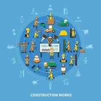 Ilustración de vector de composición coloreada de trabajador de construcción