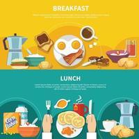 Flat Breakfast Banners Set Vector Illustration