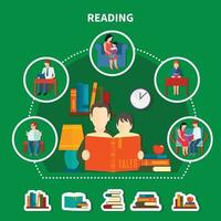 People Reading Literature Composition vector