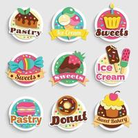 Sweets Desserts Pastry Labels Set Vector Illustration