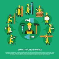 Ilustración de vector de composición verde de trabajador de construcción