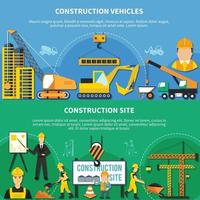 Two Construction Worker Banner Set Vector Illustration