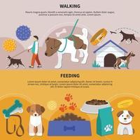 Dogs Walking Feeding Banners vector