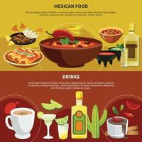 Mexican Food And Drinks Banners Vector Illustration