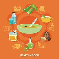 Healthy Eating Composition Vector Illustration