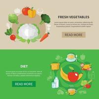 Healthy Eating Banner Set Vector Illustration