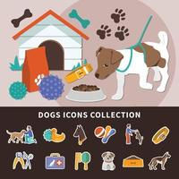 Dogs Icon Set Background vector