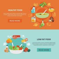 Two Healthy Eating Banner Set Vector Illustration