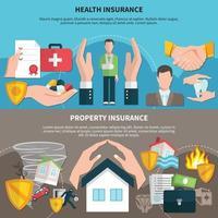 Banners de seguros de salud y propiedad. vector