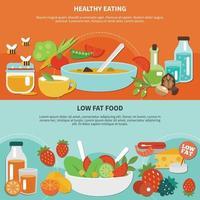 Healthy Eating Flat Banner Set Vector Illustration