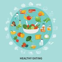 Healthy Eating Circle Composition Vector Illustration