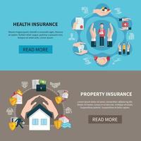 Banners de atención médica de propiedad de seguros vector