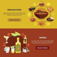 Mexican Food Horizontal Banners Vector Illustration