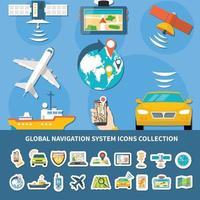 Navigation Icons Set Background vector