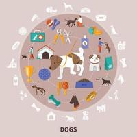 Dogs Pets Flat CIrcle Composition vector