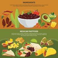 ingredientes, comida rápida mexicana, pancartas, vector, ilustración vector