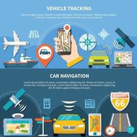 Transport Tracking Horizontal Banners vector