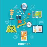 Route Navigation Round Composition vector