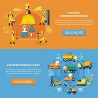 Ilustración de vector de conjunto de banner de trabajador de construcción