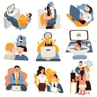 Office Work Funny Icons Set Vector Illustration