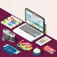 Online Booking Isometric Design Concept Vector Illustration