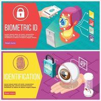 Biometric ID Horizontal Banners Vector Illustration