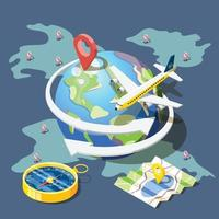 Planning Traveling Isometric Composition Vector Illustration