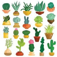 Cacti Succulents In Pots Set Vector Illustration