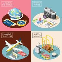 Travel 2x2 Isometric Design Concept Vector Illustration