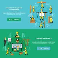 Ilustración de vector de conjunto de banner plano de trabajador de construcción