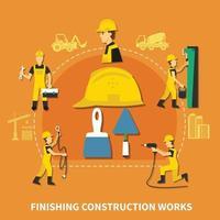Ilustración de vector de composición de trabajador de construcción