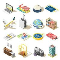 Travel Isometric Icons Vector Illustration