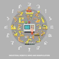 Robotic Arm Industrial Composition Vector Illustration