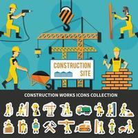 Ilustración de vector de composición plana de trabajador de construcción