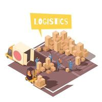 Freight Sorting Isometric Composition Vector Illustration