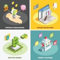 Financial Technology 2x2 Design Concept Vector Illustration