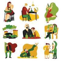 Alcohol Addiction Flat Icons Set Vector Illustration