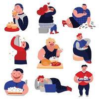 Eating disorder Icons Set Vector Illustration