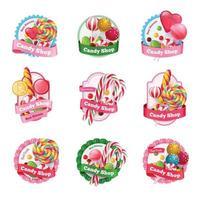 Emblemas de la tienda de dulces establecen ilustración vectorial vector