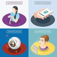Biometric ID 2x2 Design Concept Vector Illustration