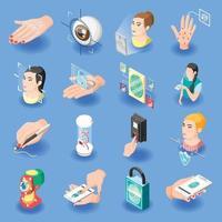 Biometric ID Isometric Icons Vector Illustration