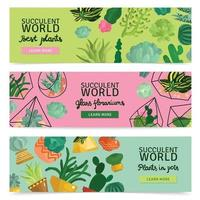 Succulents Banners Set Vector Illustration