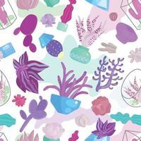 Succulents Seamless Pattern Vector Illustration