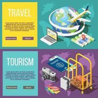 Ilustración de vector de banners horizontales de viajes y turismo