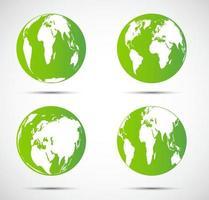 Green globe set vector