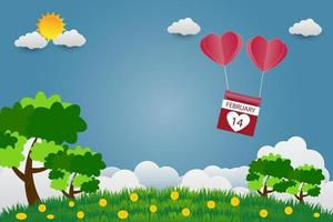 Valentine's day balloons in a heart shape flying over grass background, paper art style. vector illustrator