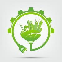 Power plug green ecology vector