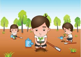 three volunteers planting trees in a forest vector