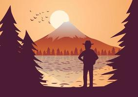 traveler stands to look at Fuji Mount at sunset vector